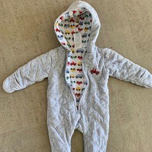 Laura Ashley Baby Gray Car Footie Snowsuit 3-6 mos